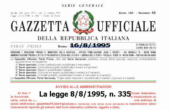 Nuovi criteri per l'accertamento dell'anzianità contributiva al 31/12/1995
