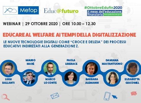 29 OTTOBRE 2020: Educare al welfare ai tempi della digitalizzazione